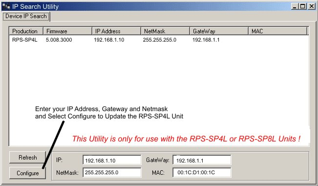 remote power control using your web browser or telephoneneed to download the configuration program, rps sp4l ipedit by clicking here start the rps sp4l ipedit exe program the initial screen is shown below